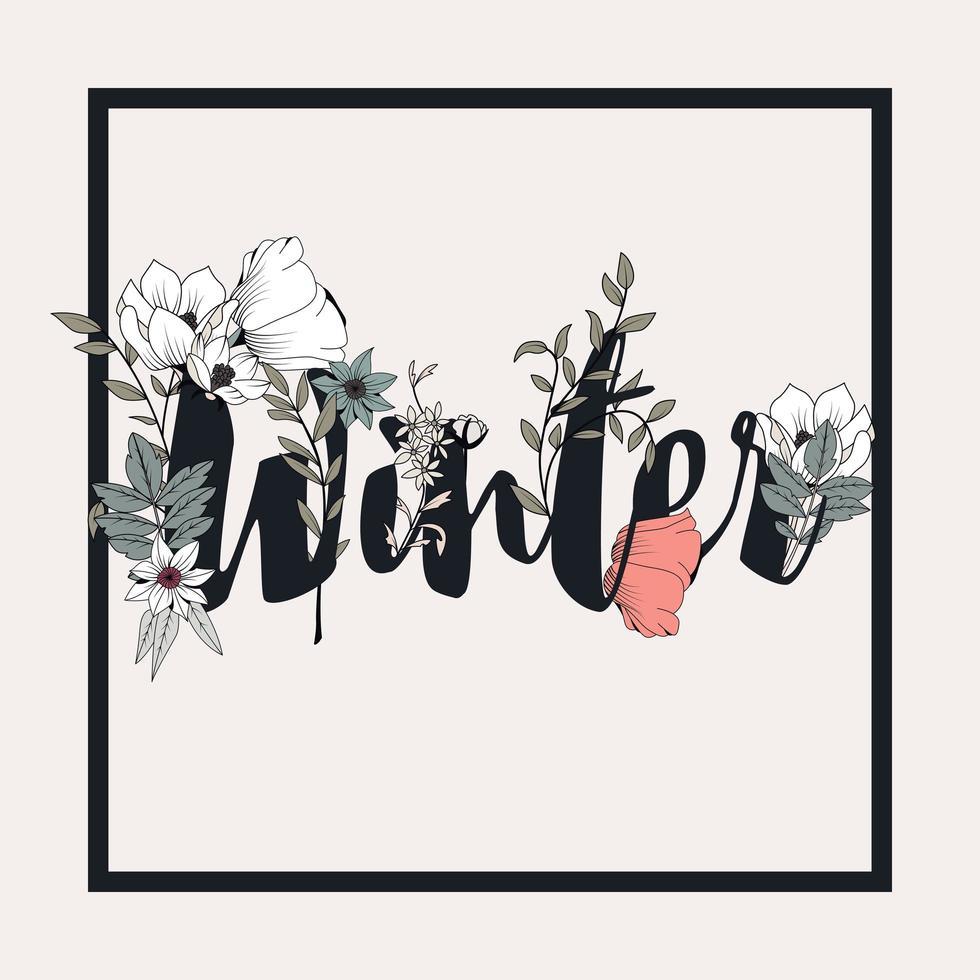 flores con diseño de carteles de texto de invierno vector