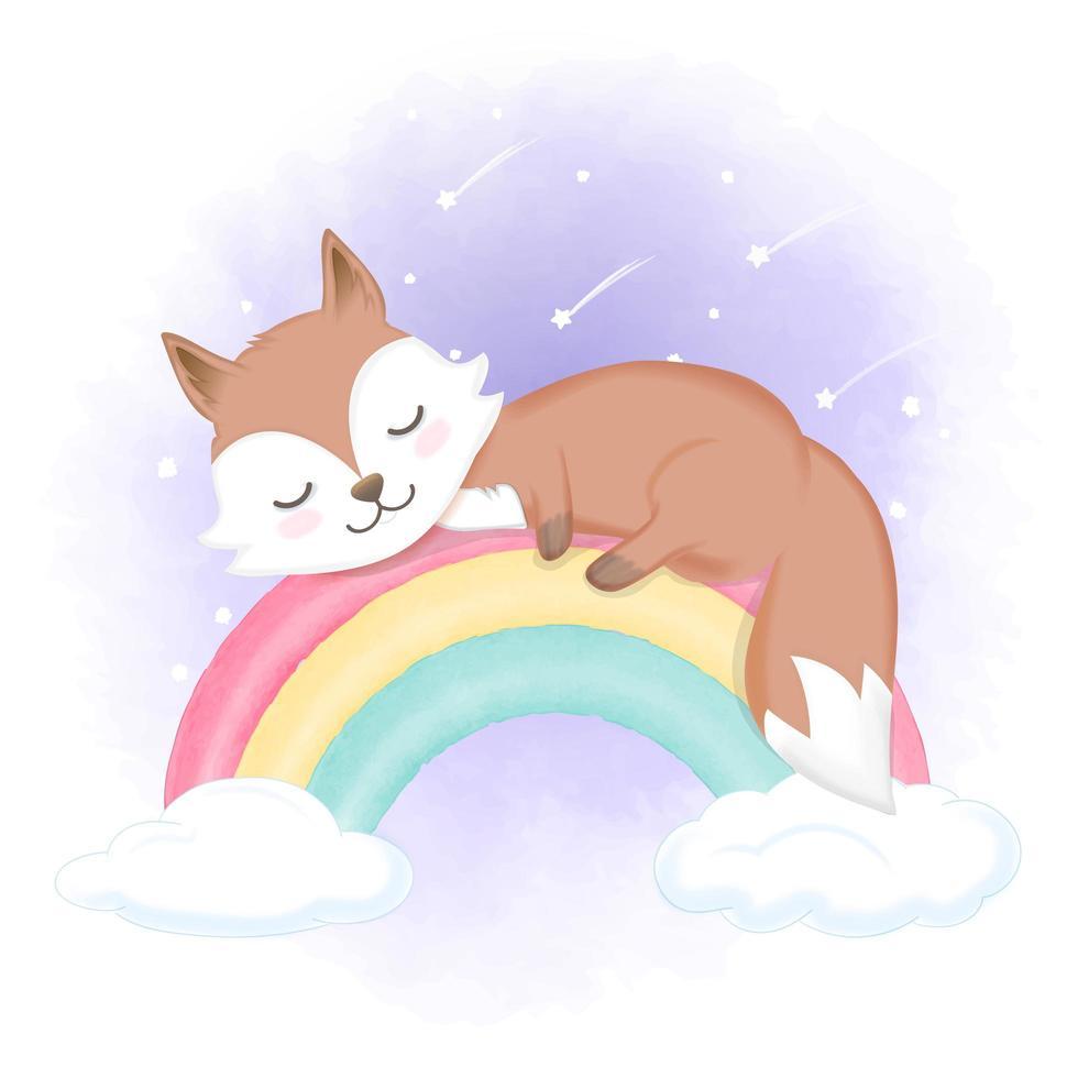 zorro durmiendo en arcoiris vector