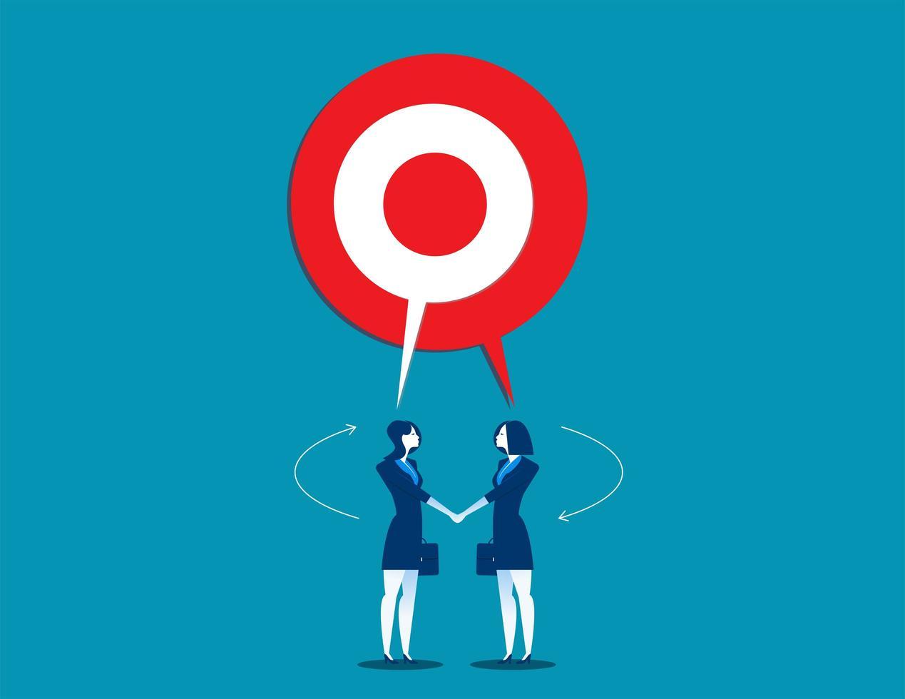 Businesswomen Talking with Shared Target Speech Bubble vector