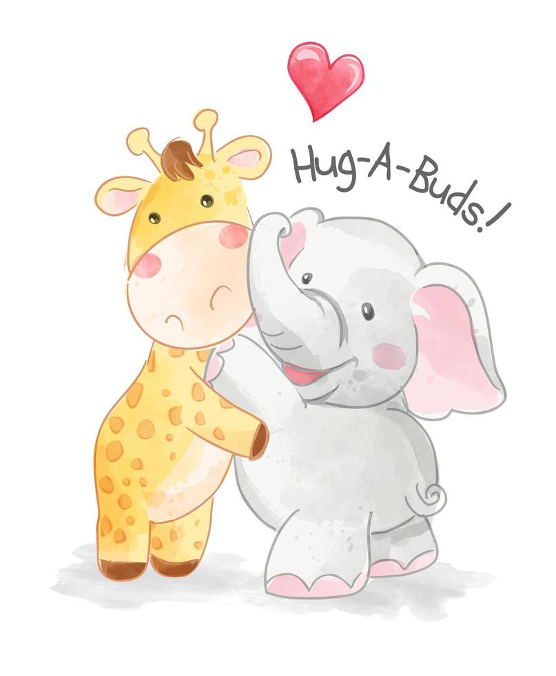 giraffee and elephant hugging each other vector
