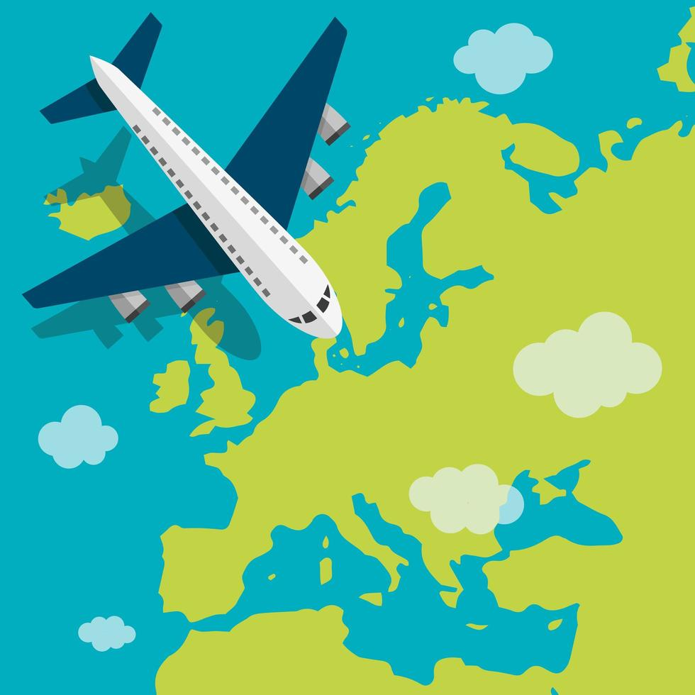 Airplane flying over Europe vector