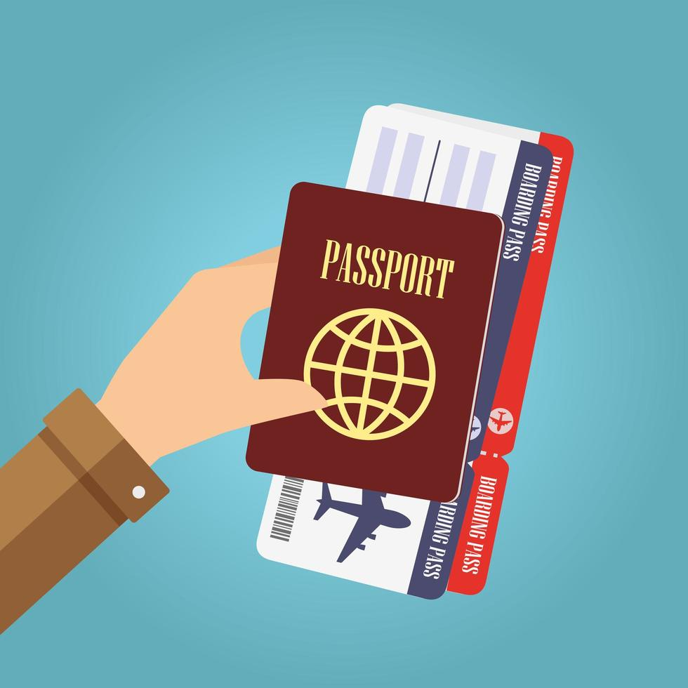 Hand holding passport and boarding pass vector