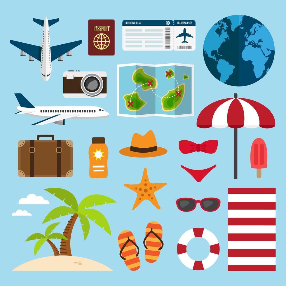 viajes y vacaciones en el conjunto de elementos de playa vector
