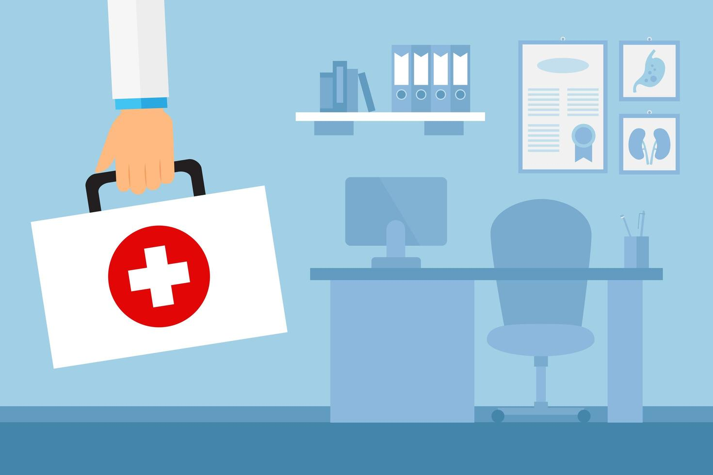 Doctor's Arm Holding First Aid Kit in Office vector