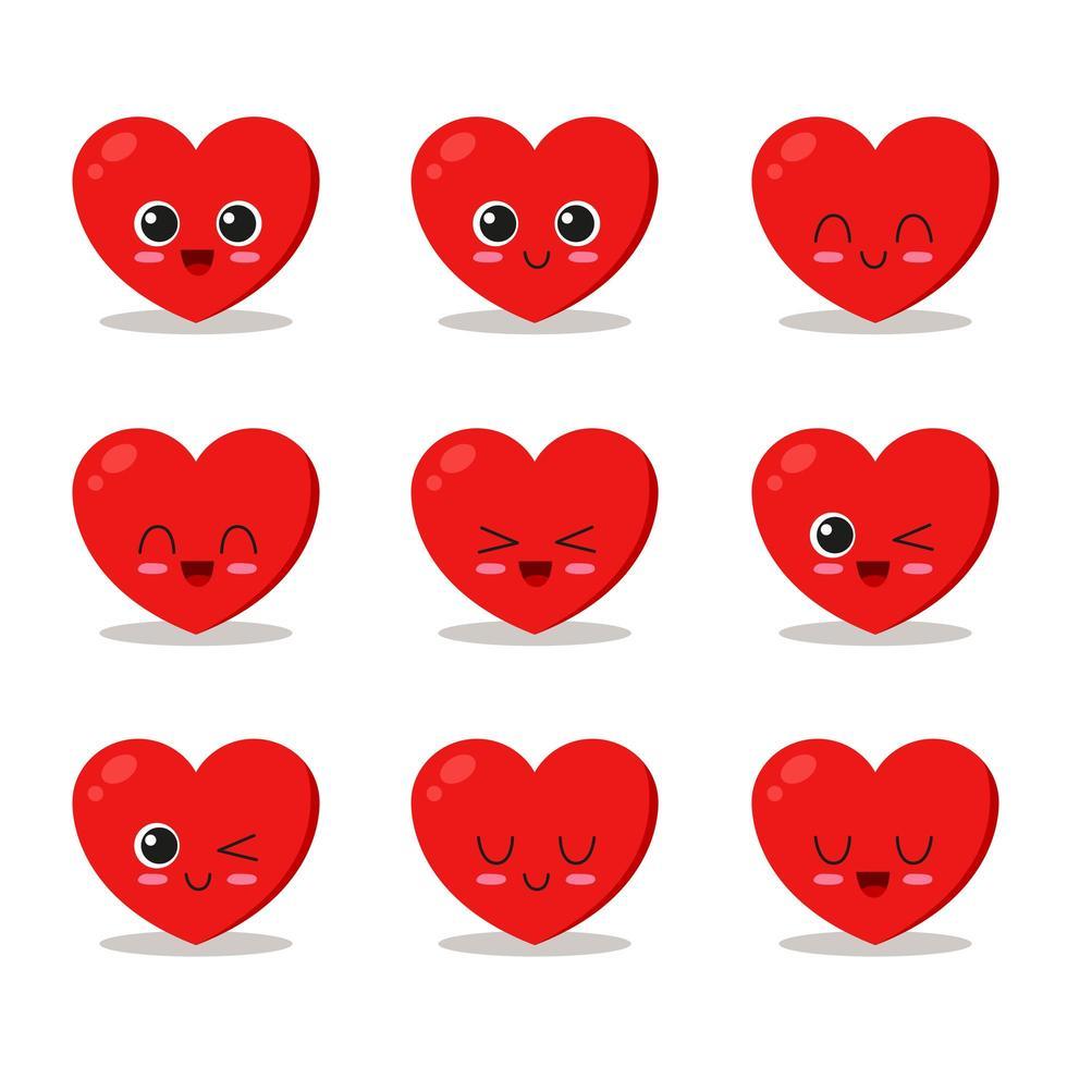 Cute heart character set vector