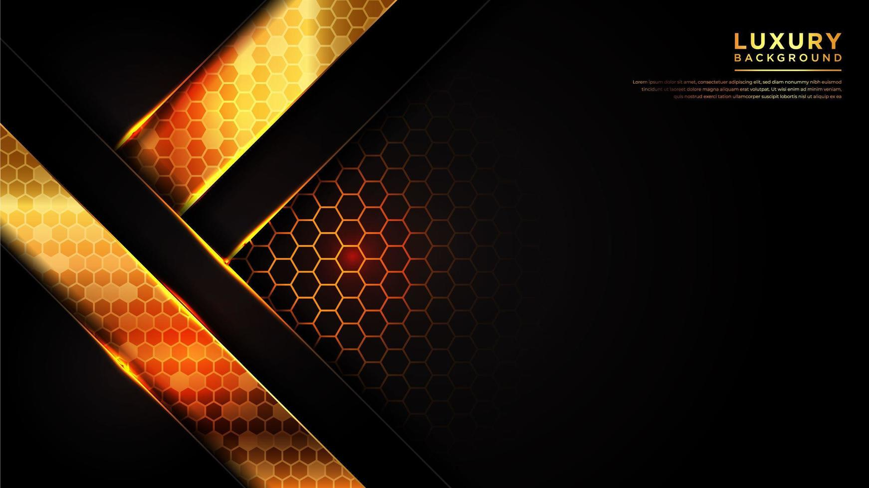 Modern angled line background with  gold hexagonal pattern vector