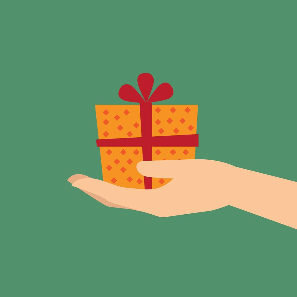 Hand holding a gift vector