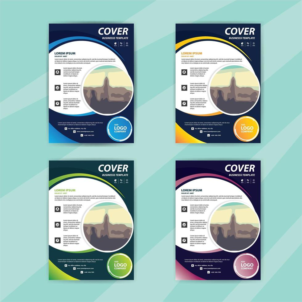 Business Flyer Template Set with Colorful Swirls vector