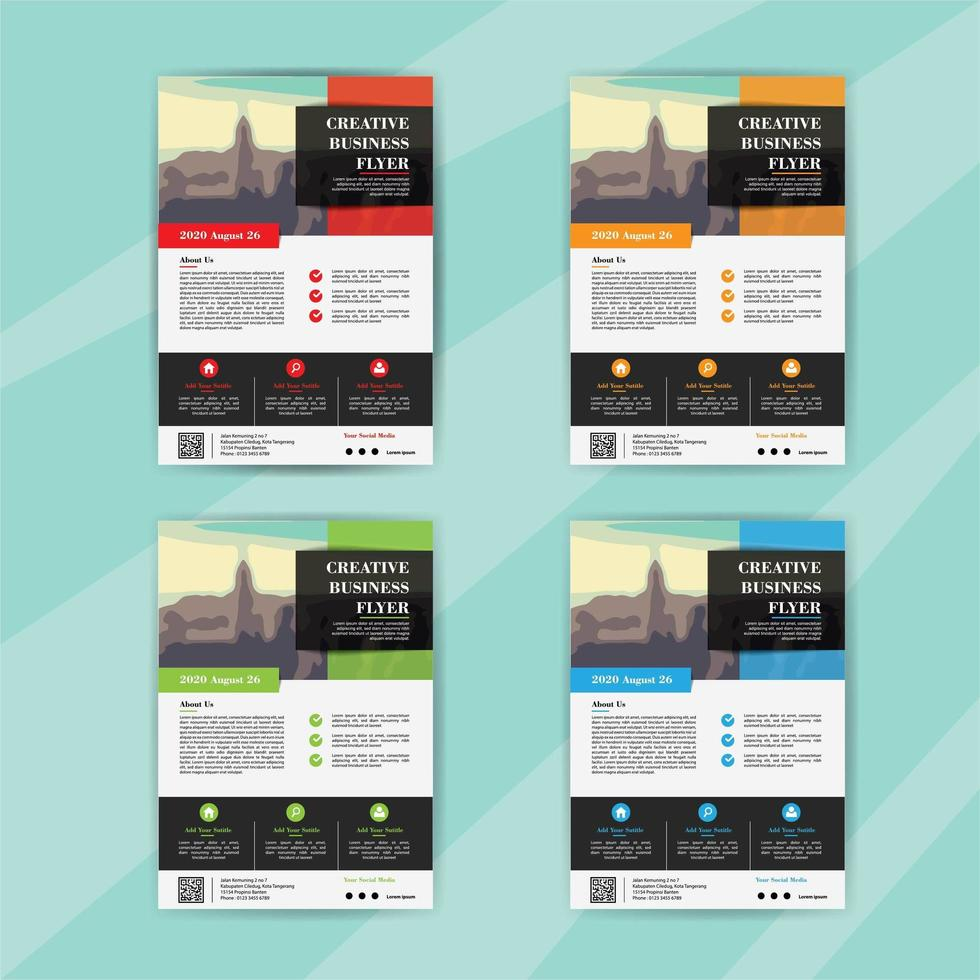 Business Flyer Template Set with Rectangle Sections vector