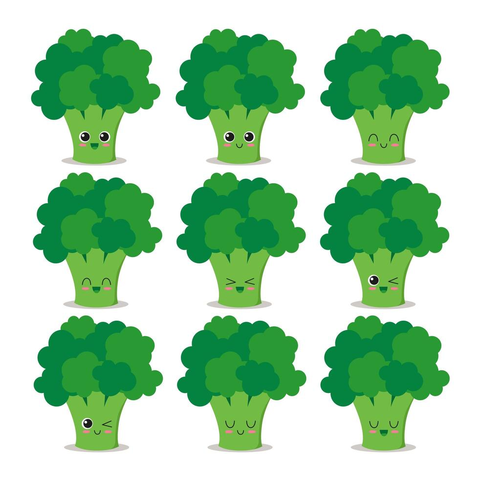 colección de personajes de brócoli vector