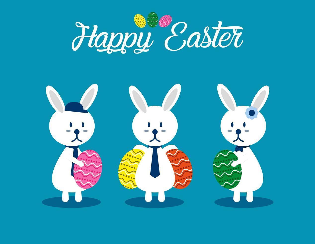 Easter Bunnies Holding Eggs Set vector