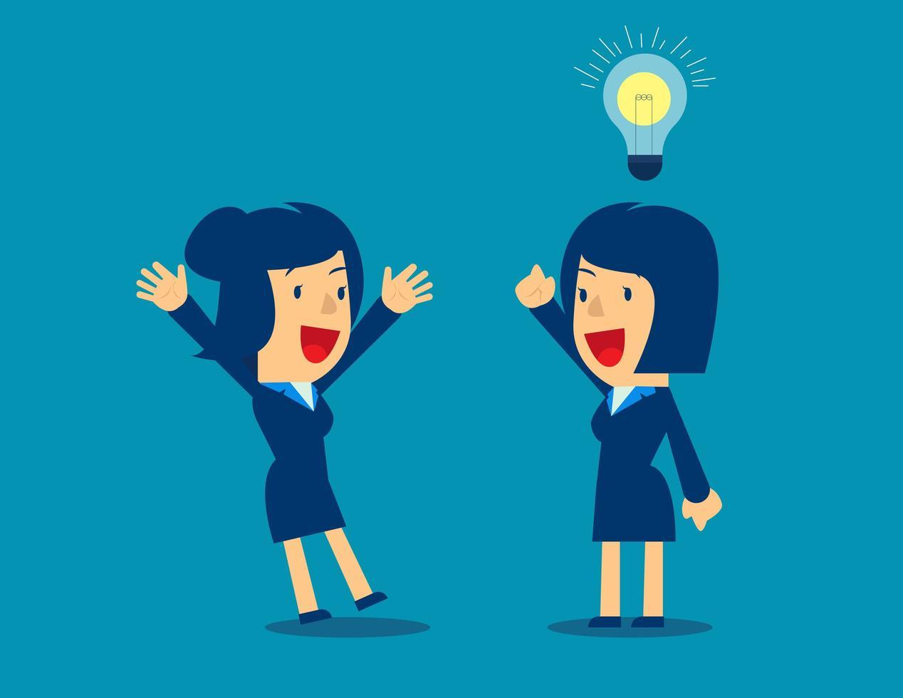 personajes de dibujos animados de mujeres de negocios con idea vector