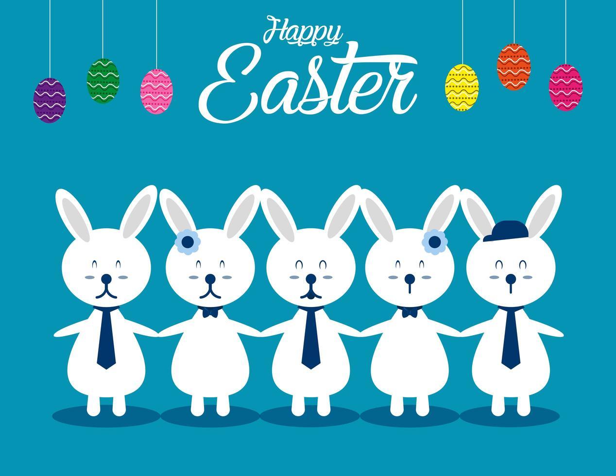 conejos blancos tomados de la mano debajo de los huevos vector