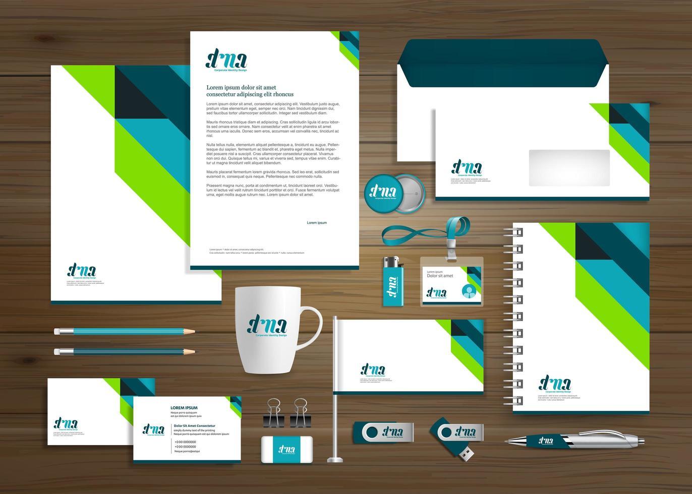 plantilla corporativa de identidad empresarial verde y azul vector