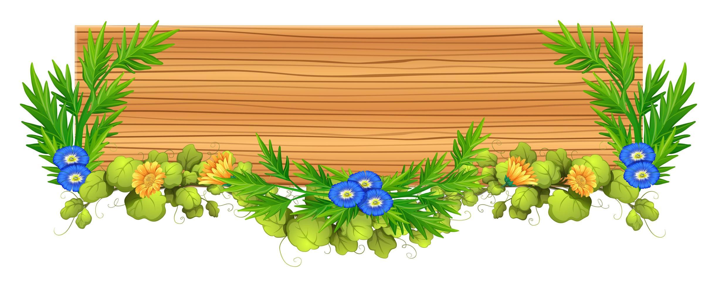 tabla de madera con vid y flor vector