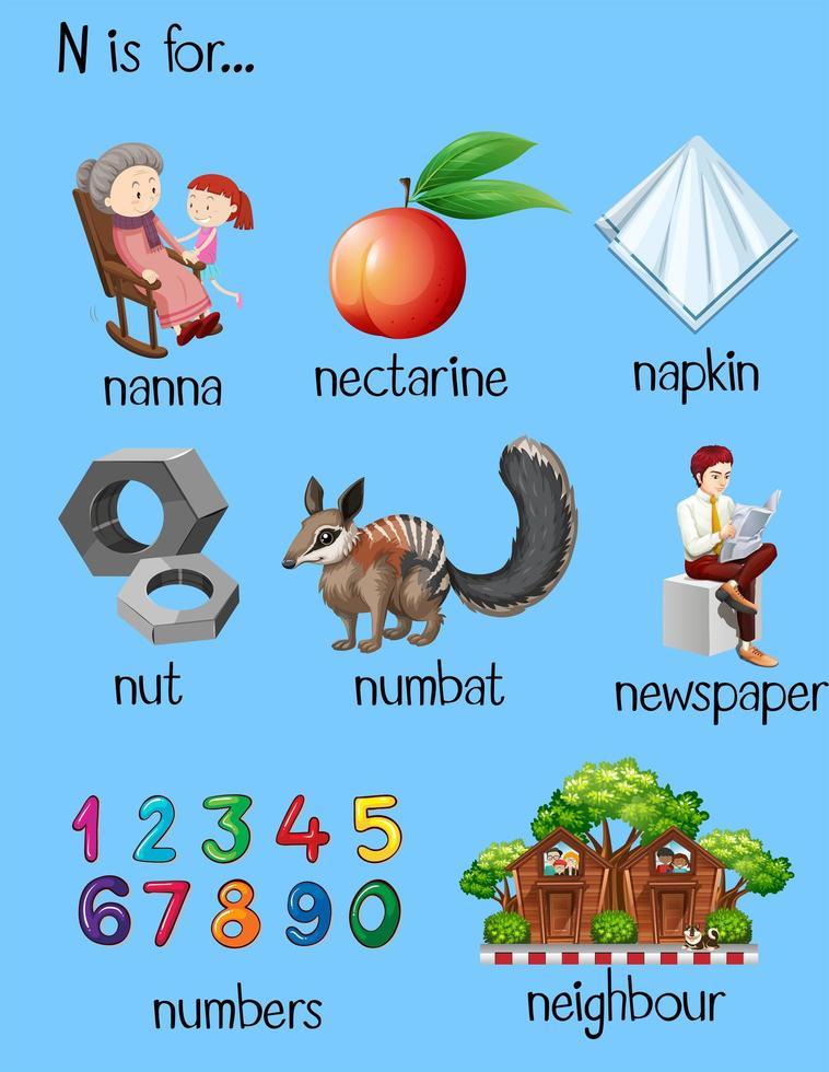tabla con palabras para la letra n vector