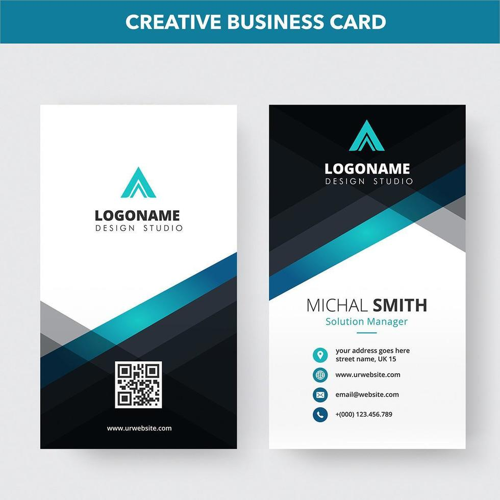 Creative Vertical Clean Line Business Card Template vector