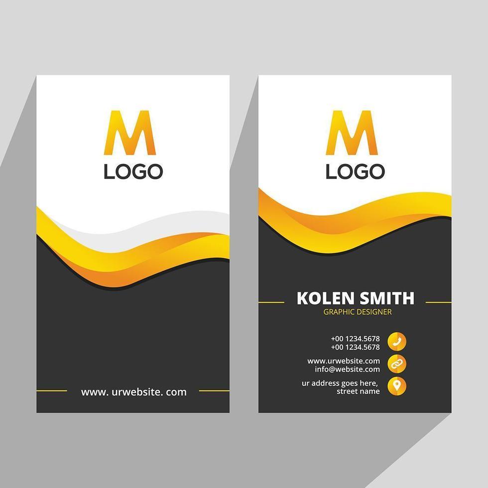 Creative Yellow Black Vertical Business Card vector