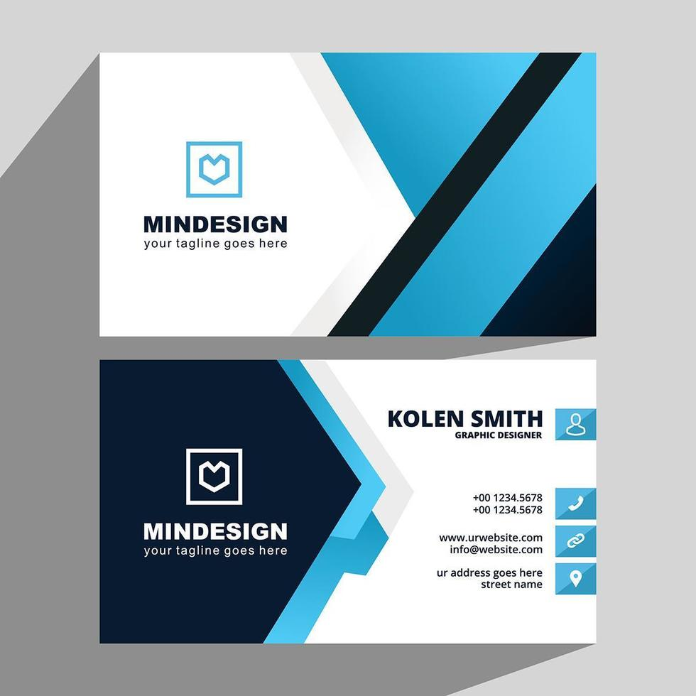 Blue and Black Angles Creative Business Card vector