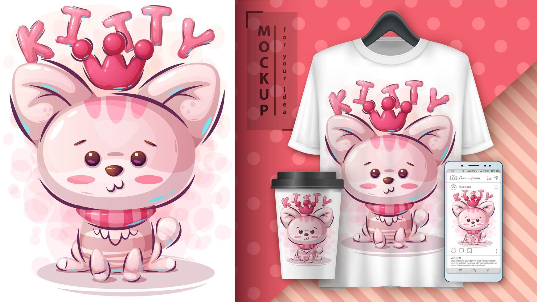 poster di gattino principessa rosa vettore