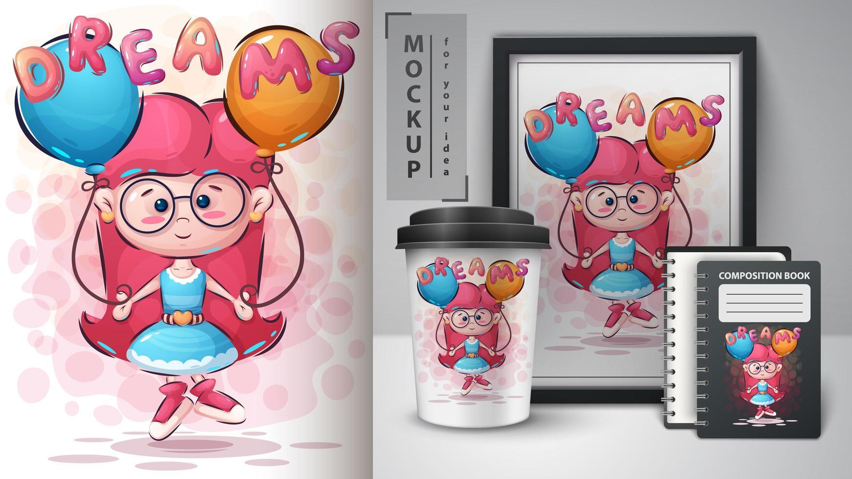 Dreams Girl Poster and Merchandising vector
