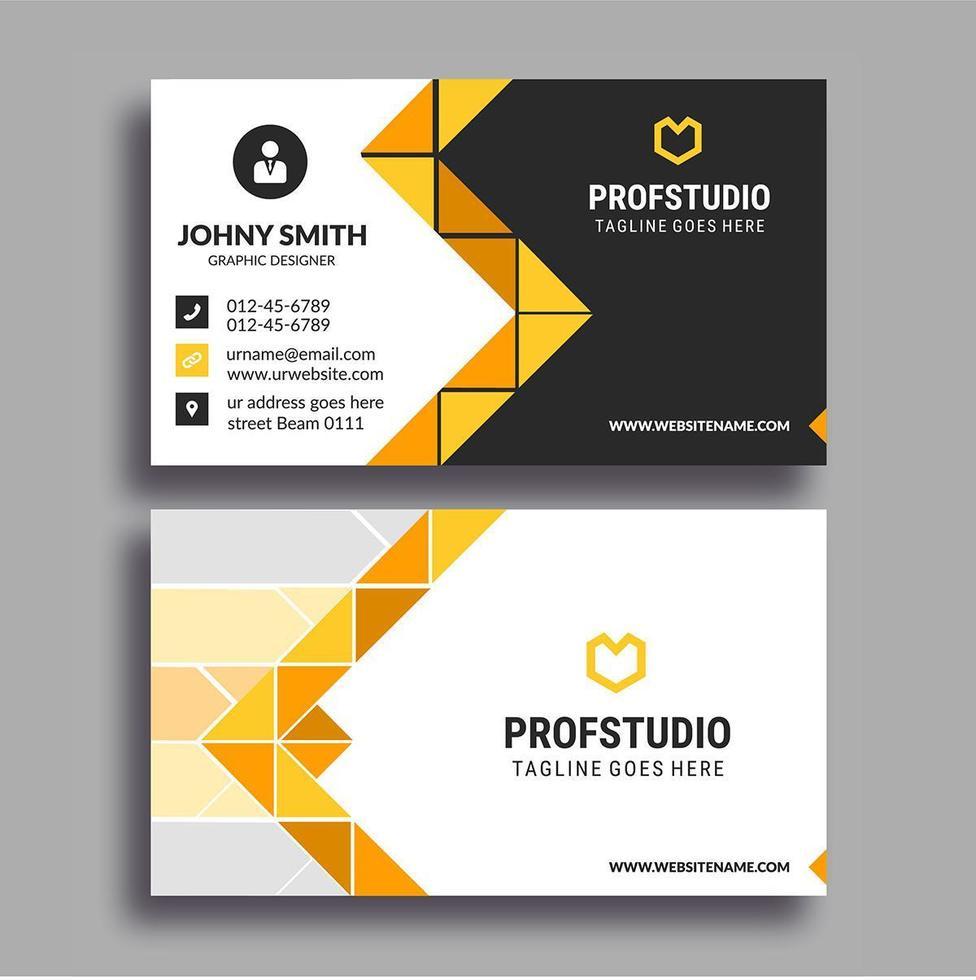 Yellow Orange Mosaic Design Creative Business Card vector