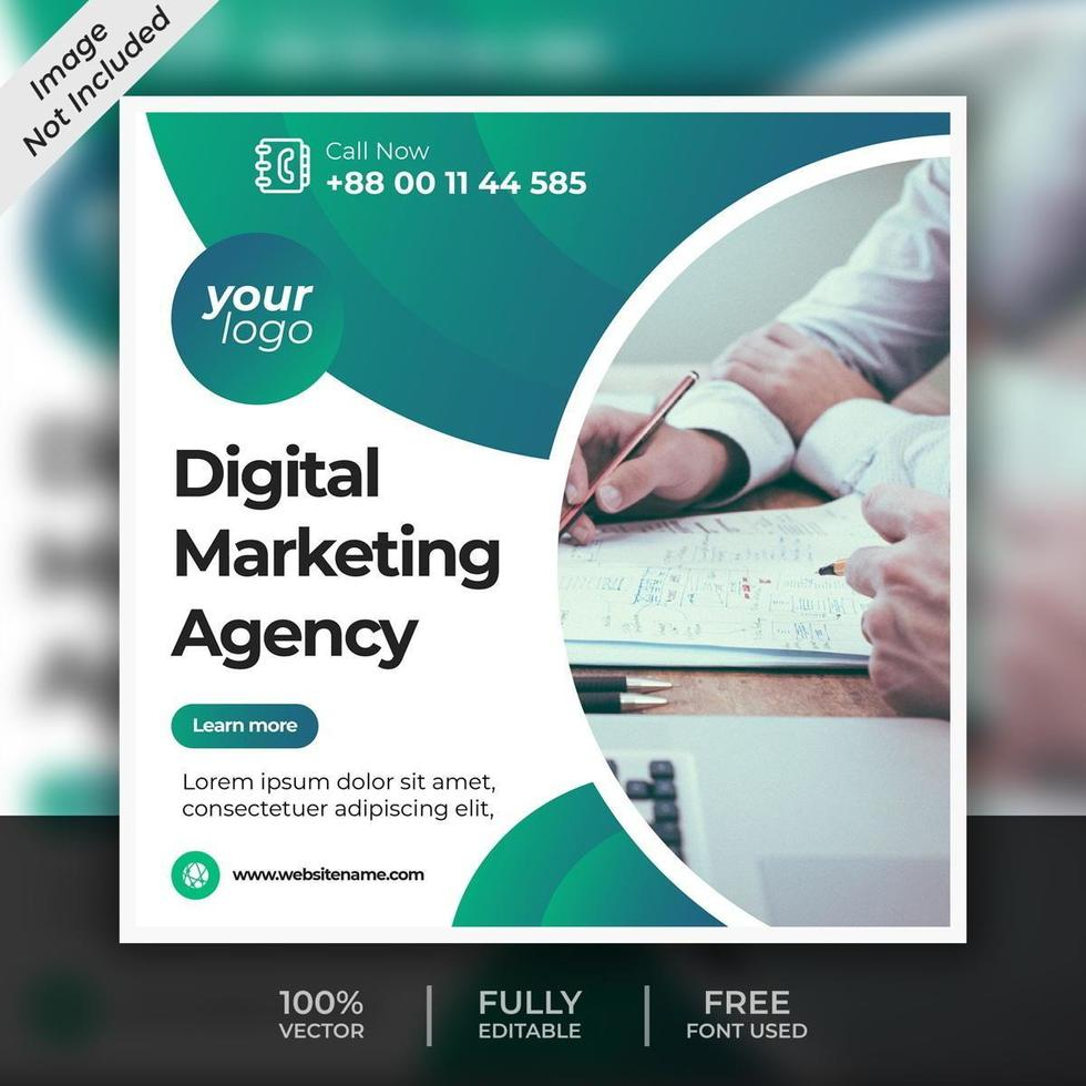 Digital Marketing Agency Post Template vector
