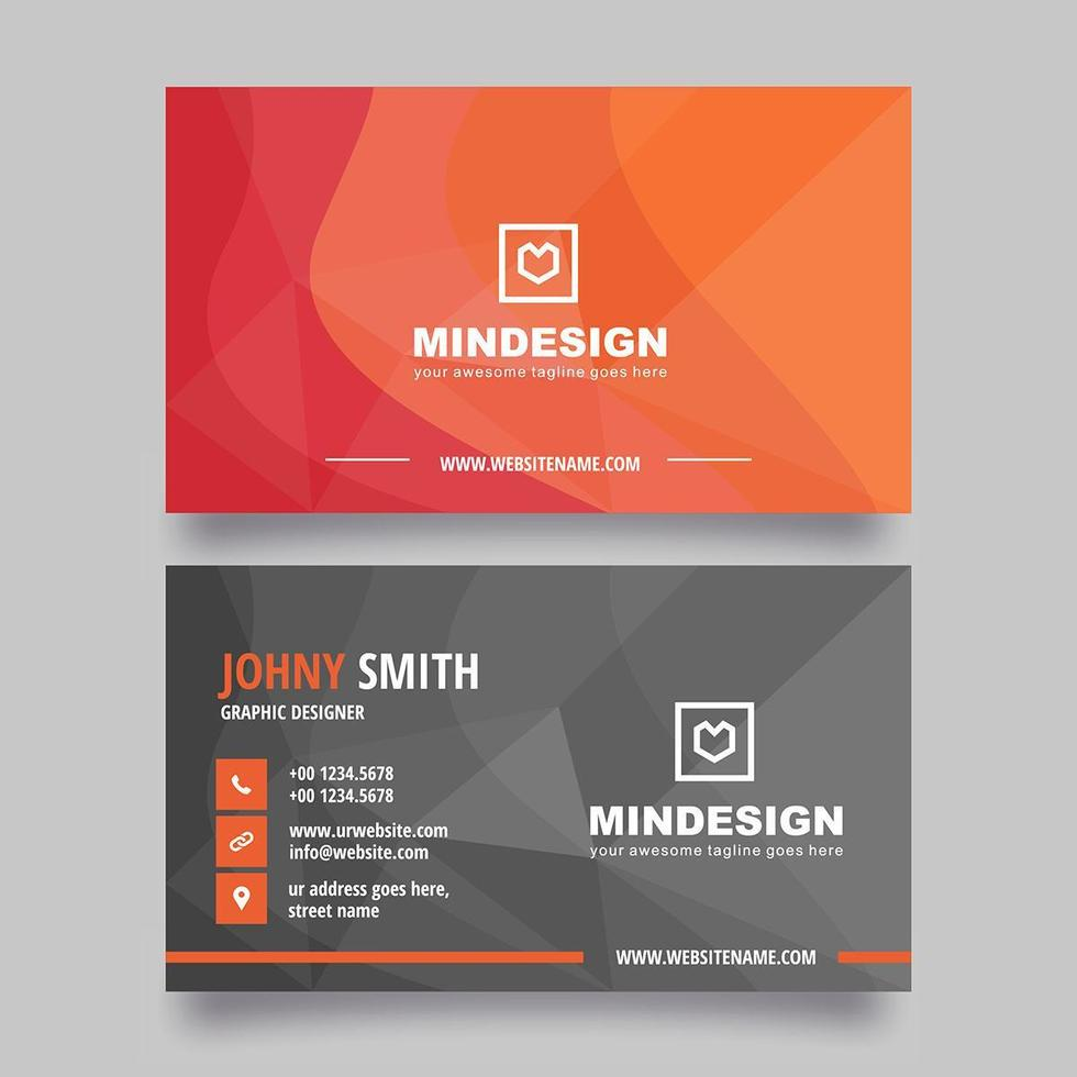 Orange Curve Gradient Business Card Design vector