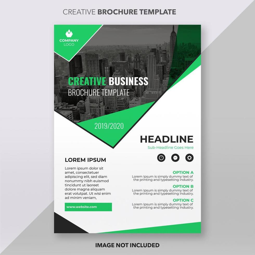 Bright Green and White Business Brochure Template Design vector