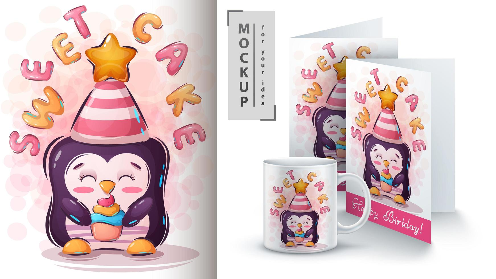 Penguin with Cake Poster and Merchandising vector