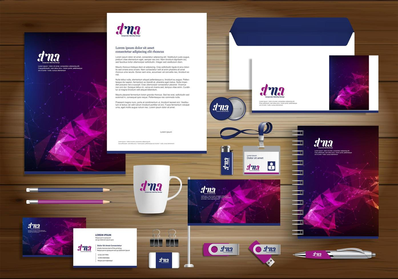 Gradient Geometric Identity and Promotional Items vector