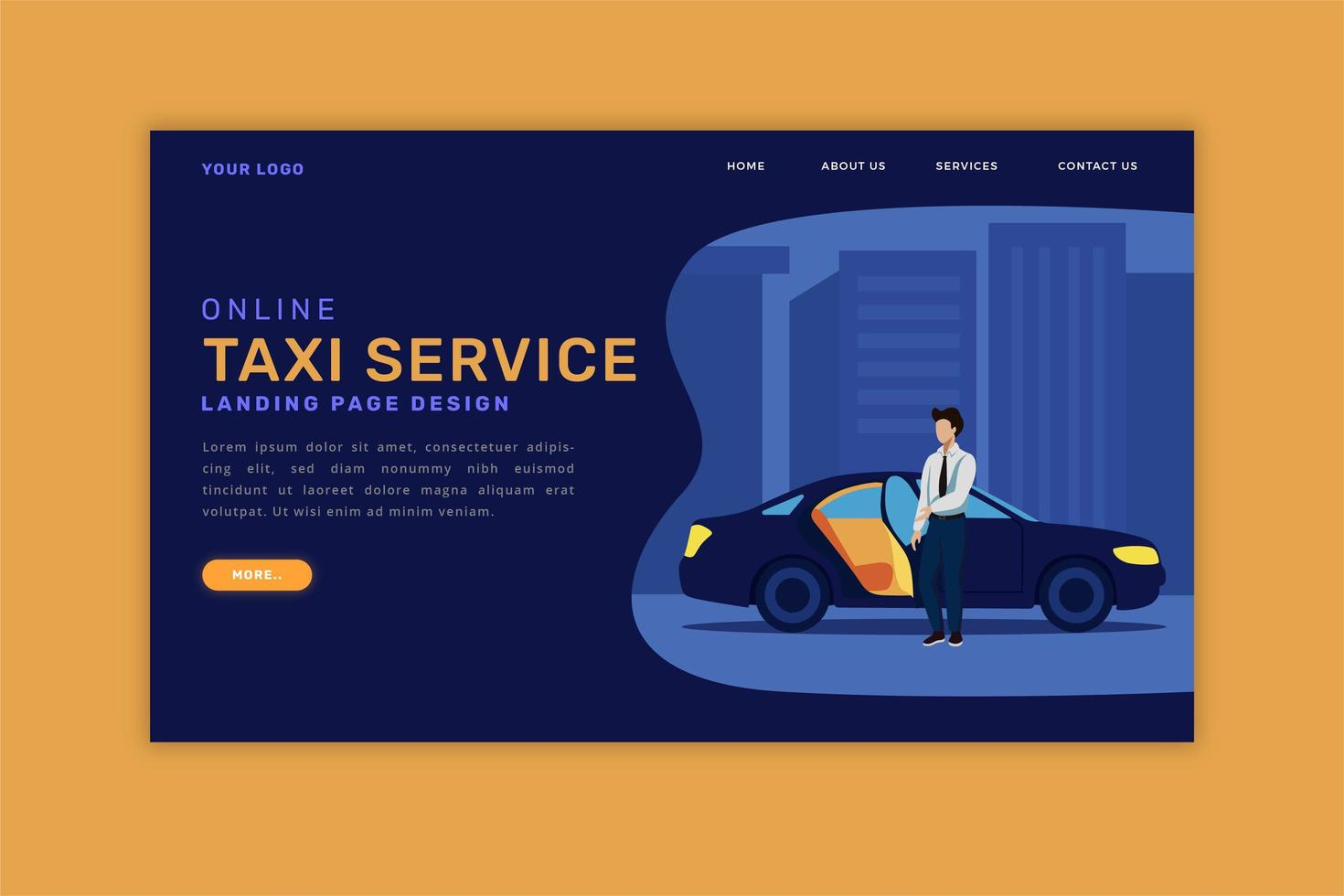 Online Taxi Landing Page vector