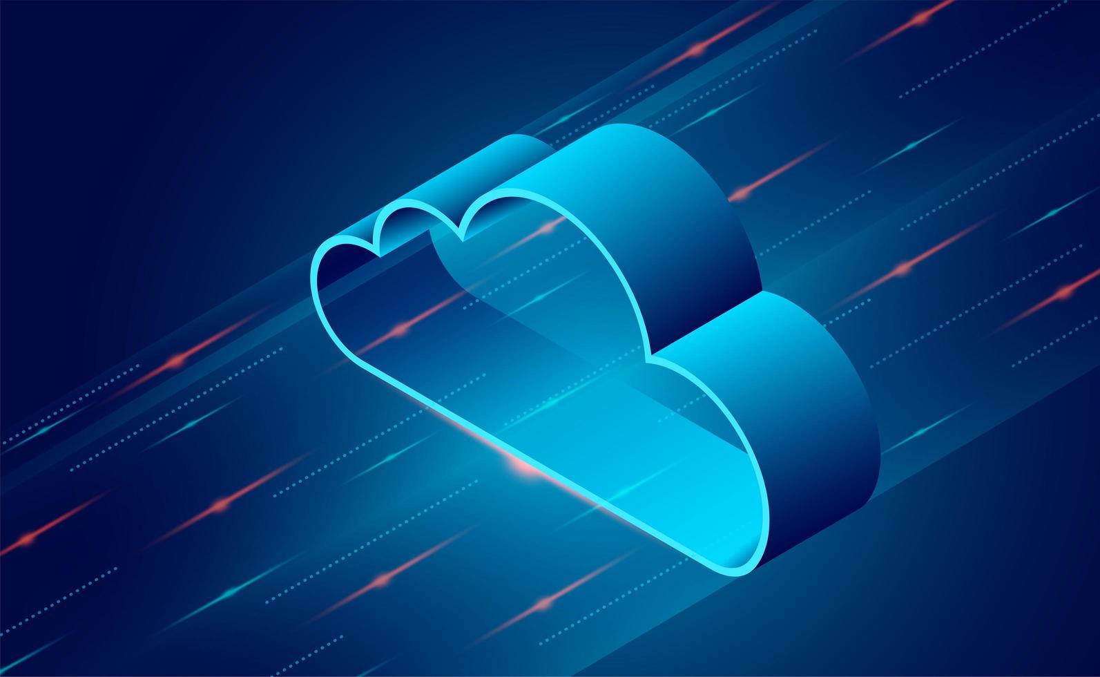 diseño de tecnología en la nube con líneas dinámicas brillantes vector