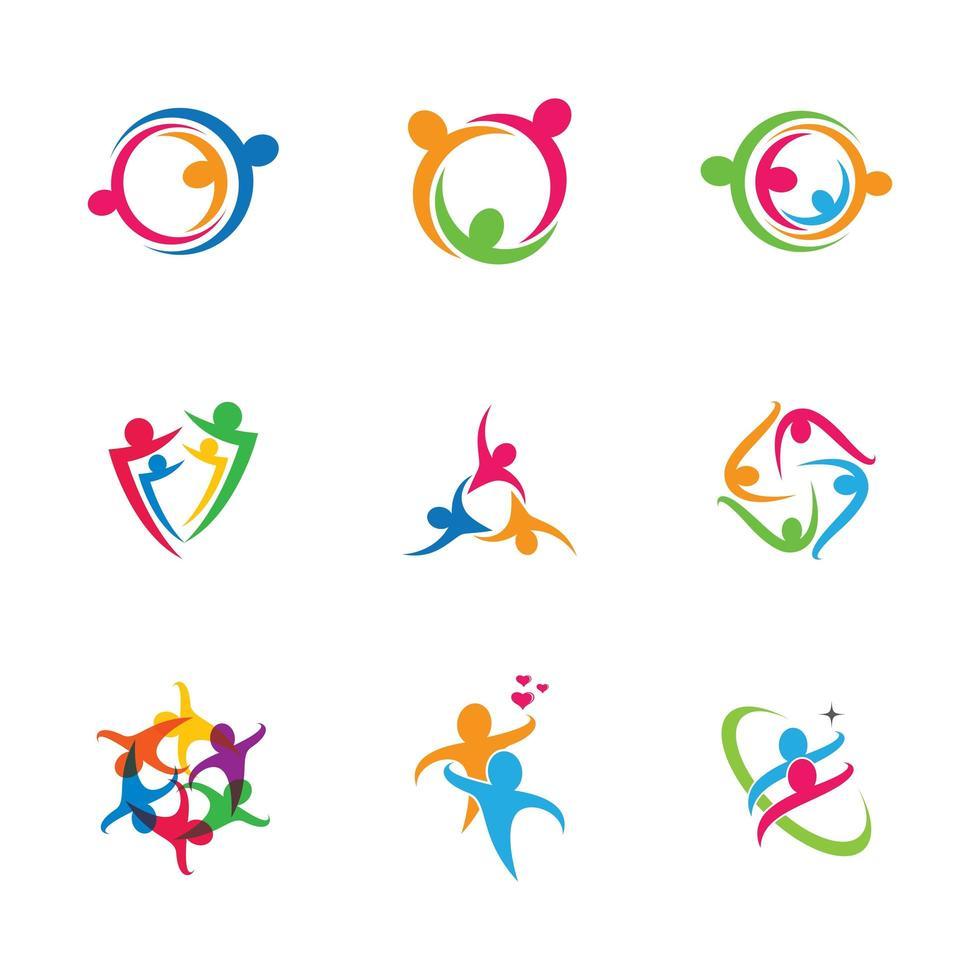 conjunto de iconos de trabajo en equipo de personas de negocios vector