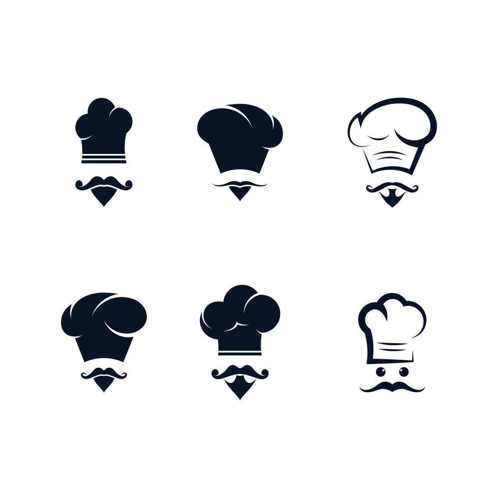 jeu d'icônes de chef en noir vecteur