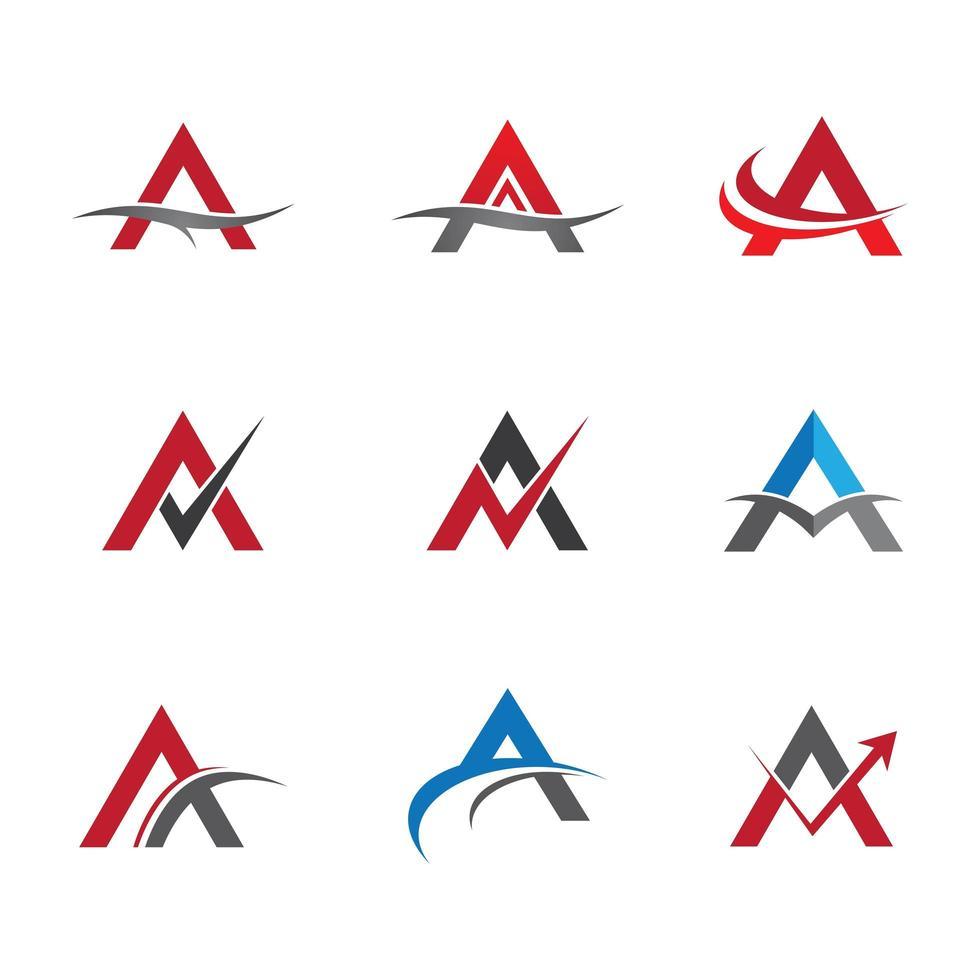 Letra un logotipo con cuadros y líneas curvas vector