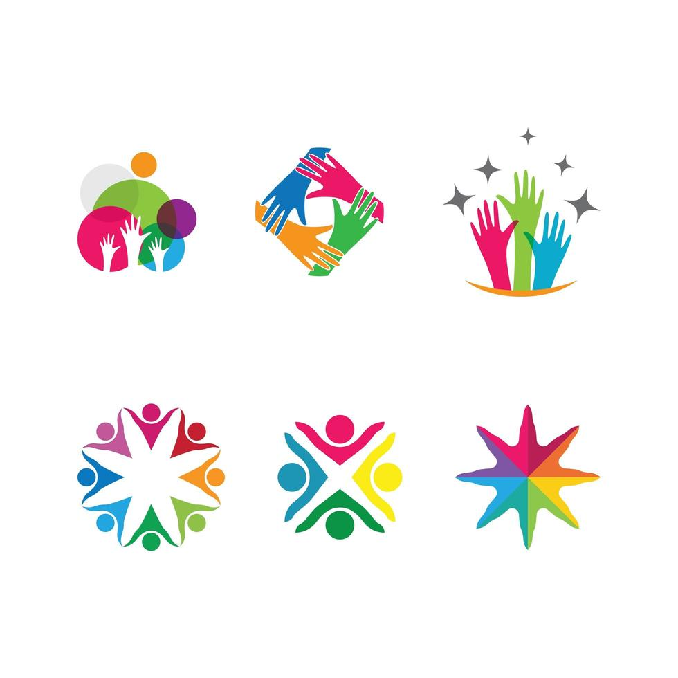 Connected Hands and People Business Teamwork Logo Set vector