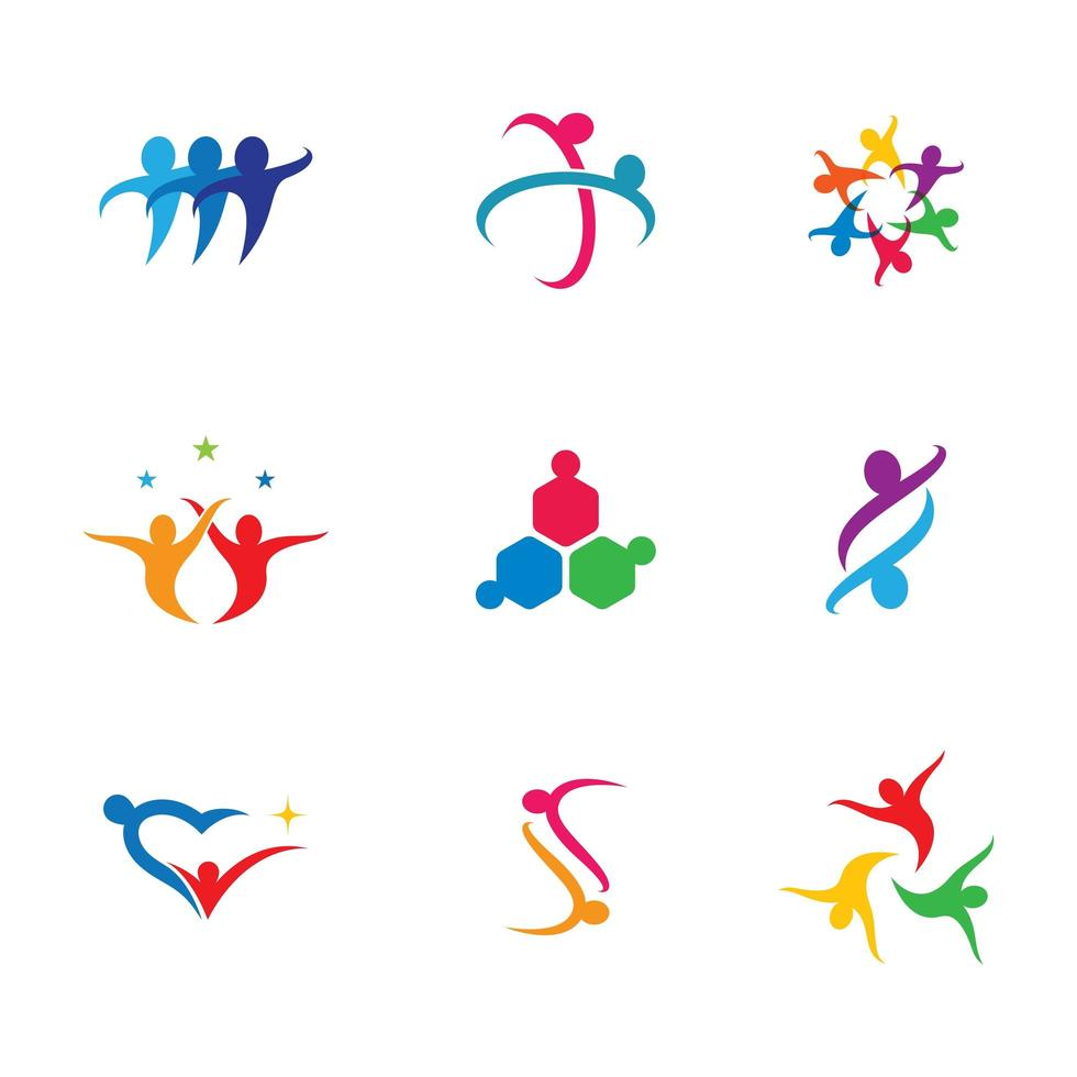 Teamwork icon set for business with colorful people vector