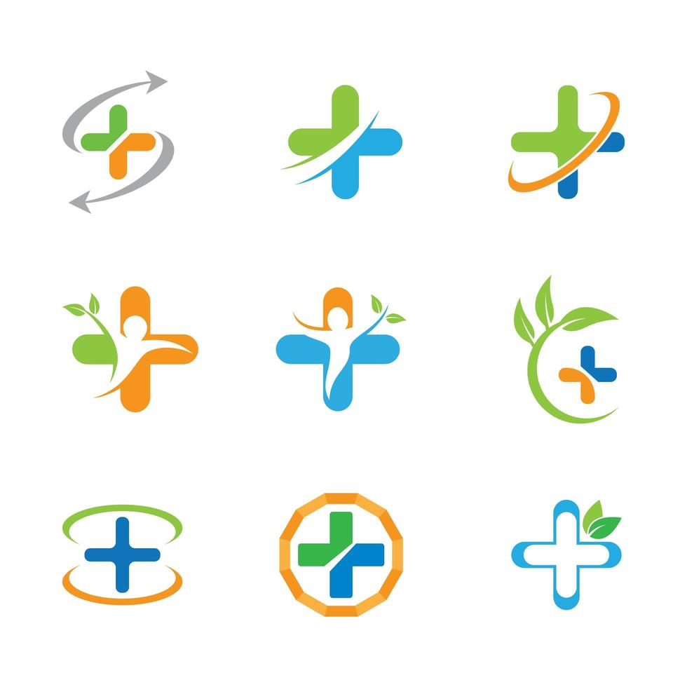 Medical cross icon set with leaves vector