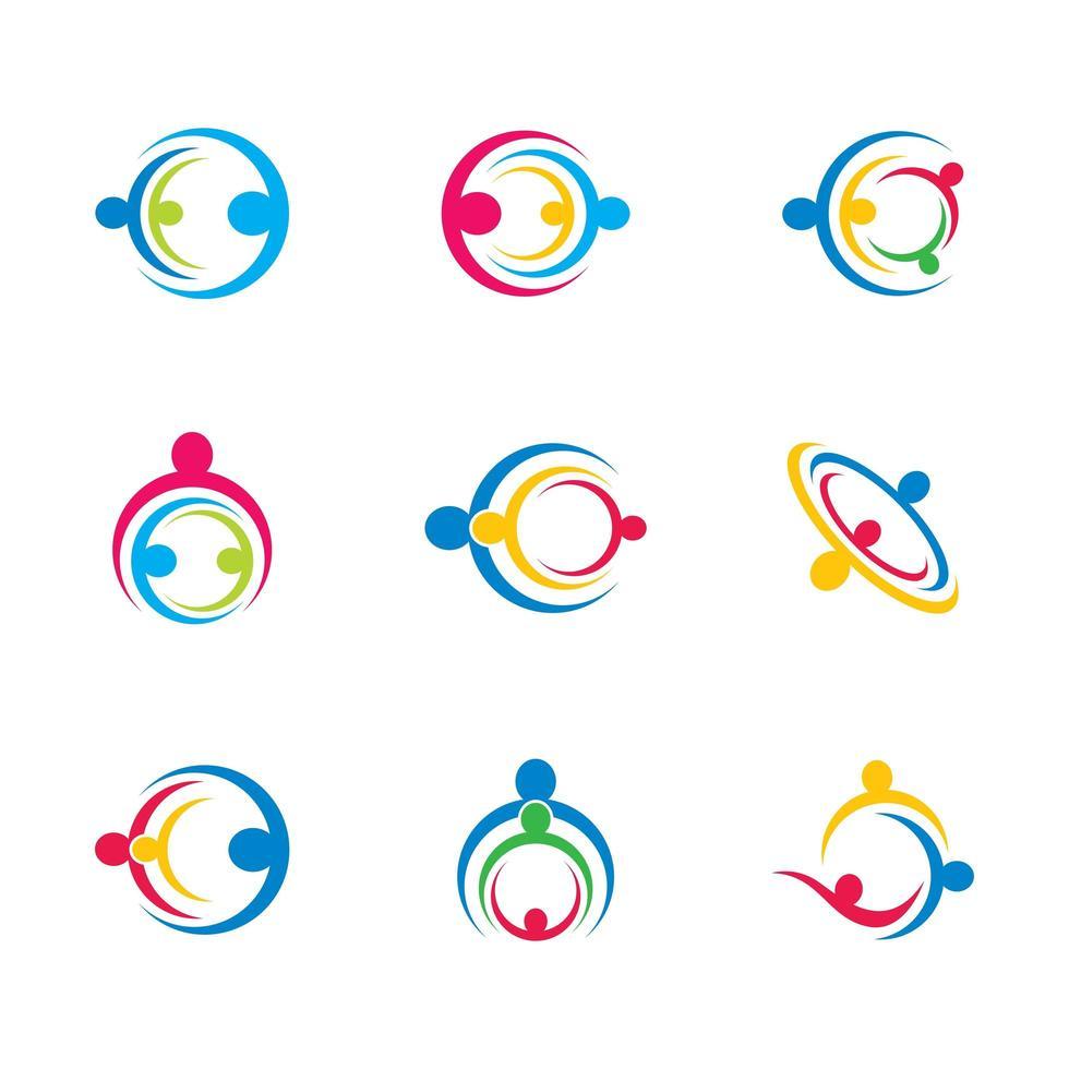 icono de trabajo en equipo de negocios con personas en círculos vector