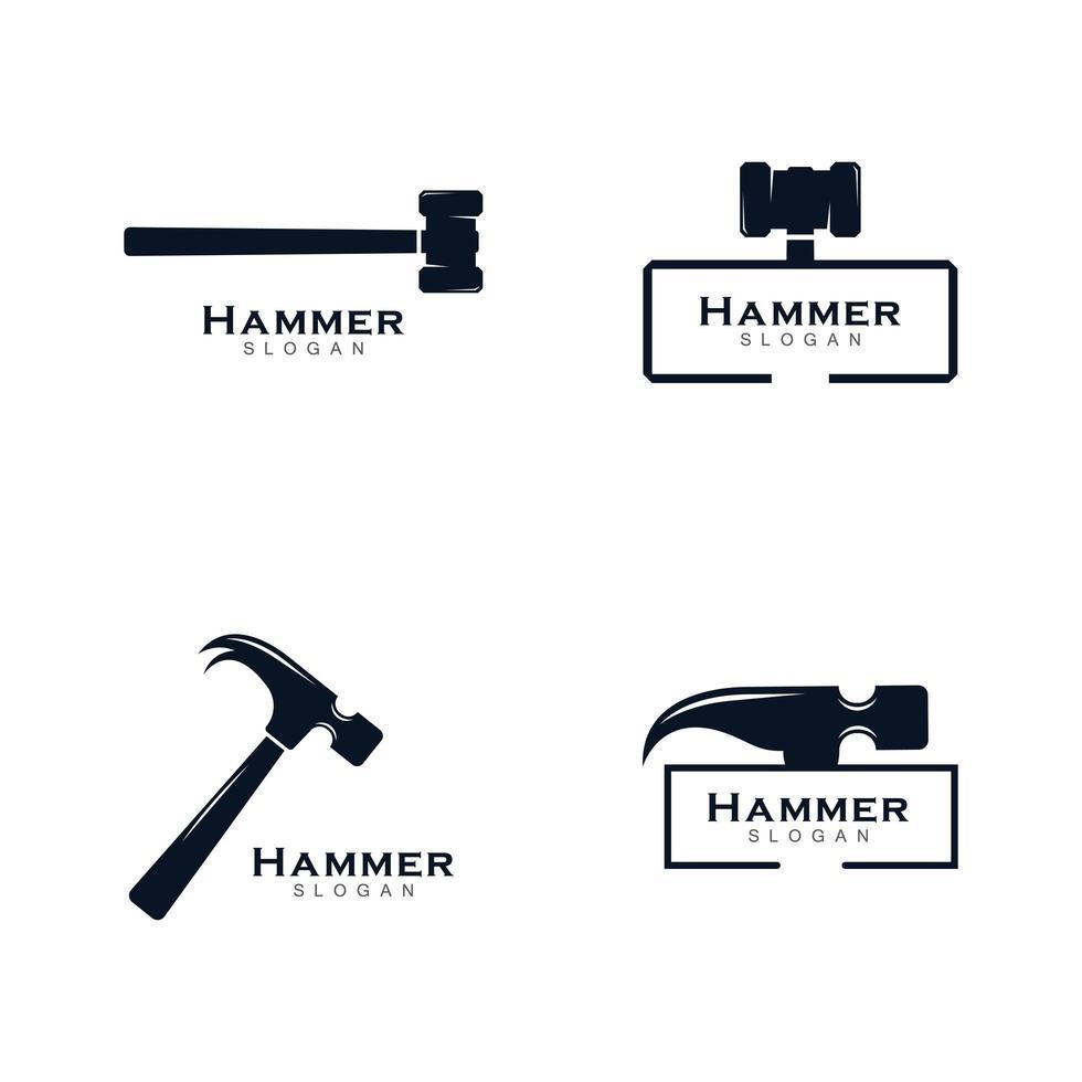conjunto de icono o logotipo de martillo vector