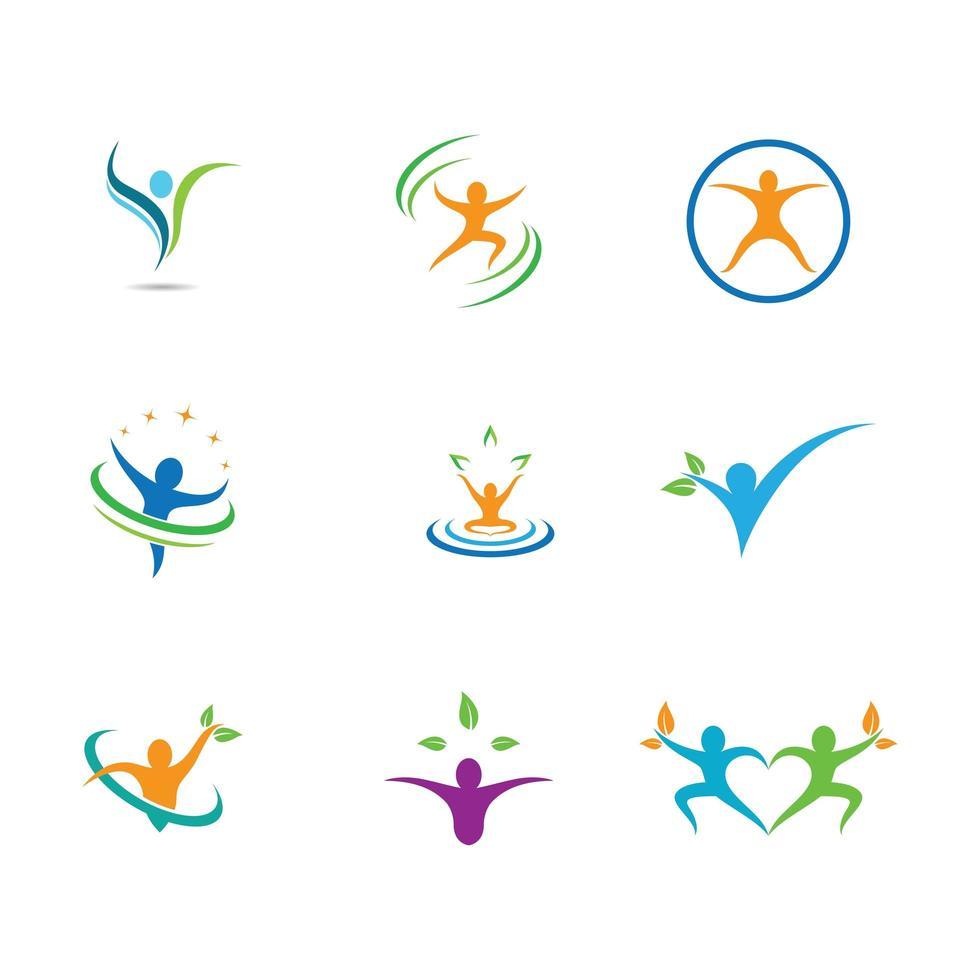 Dynamic wellness symbol set vector