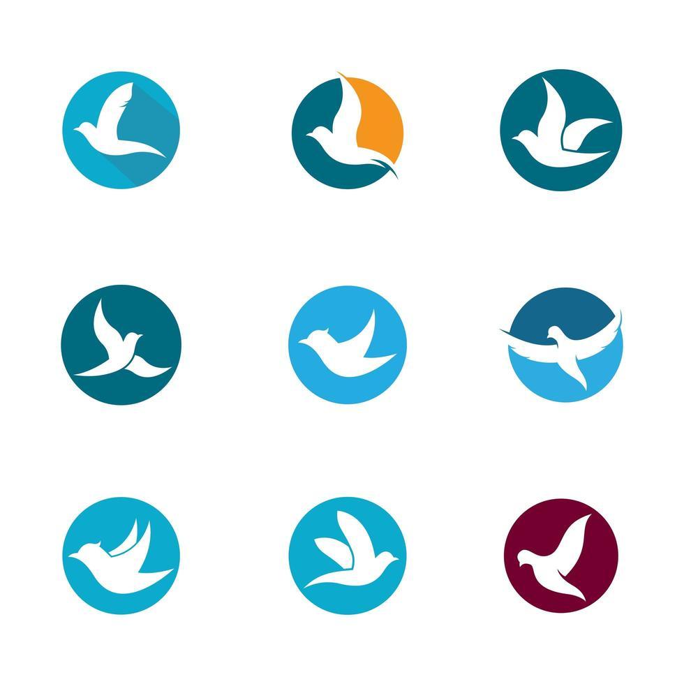 Dove in circles icon set vector