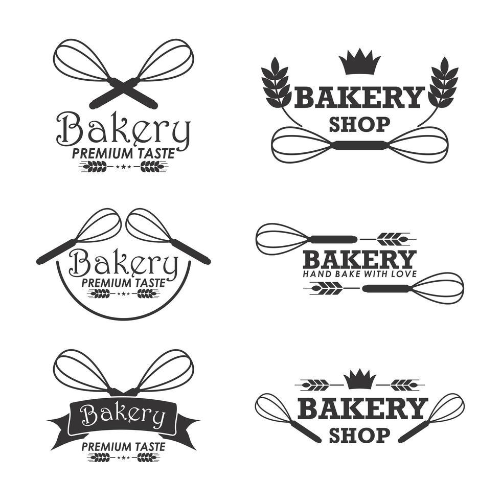 plantilla de logotipo de panadería con batidores vector