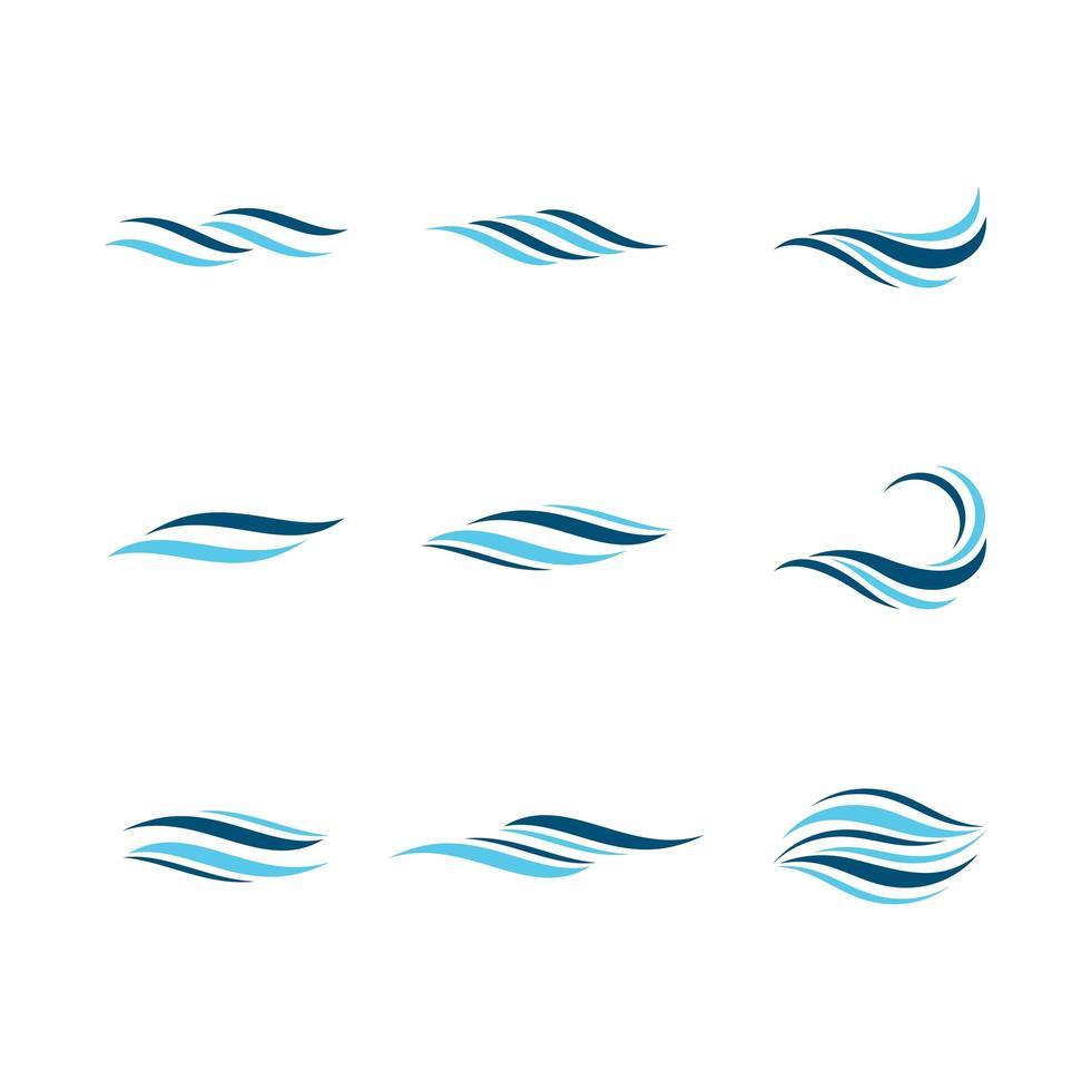 Water symbols in blue vector