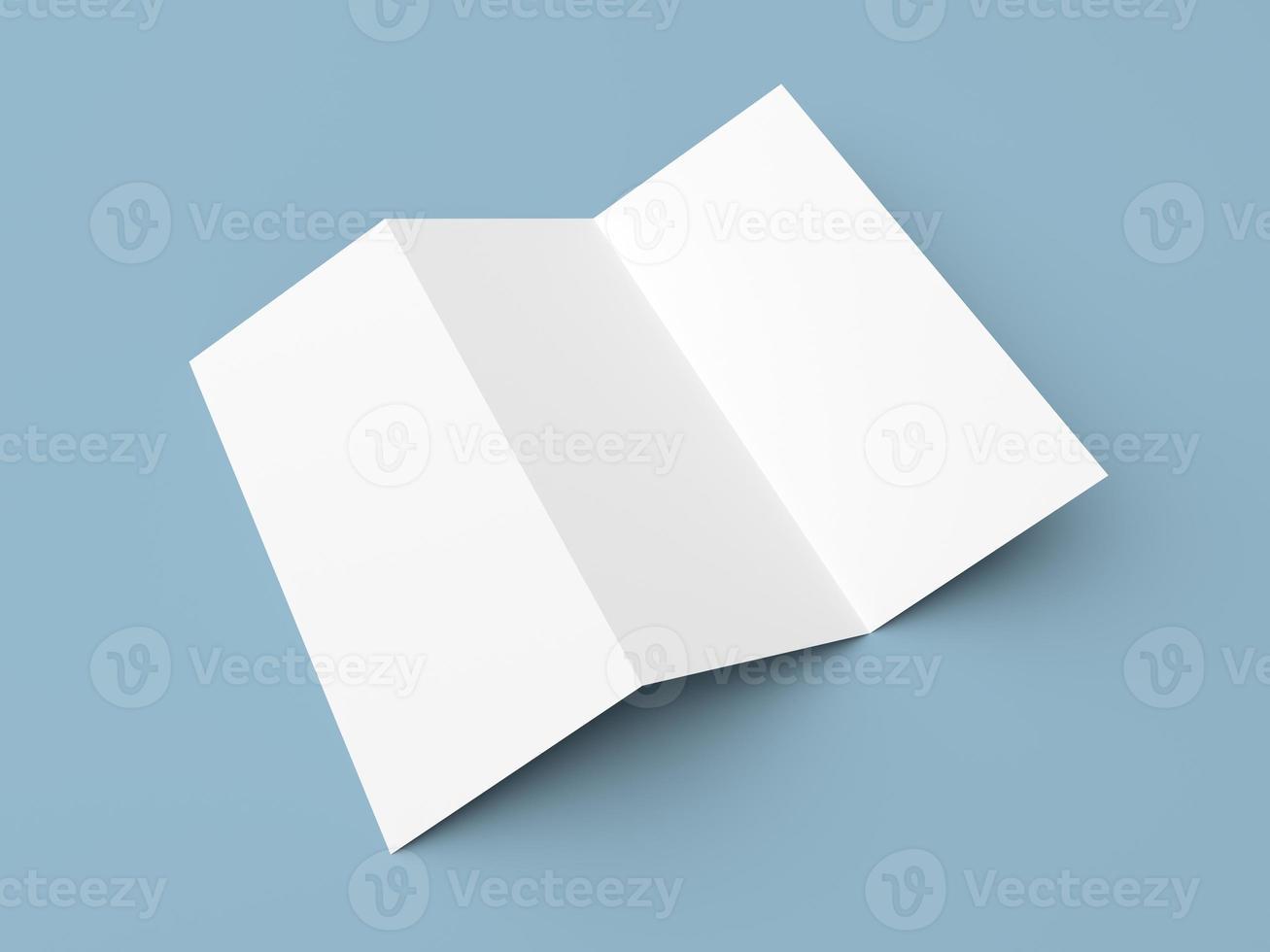Leaflet blank tri-fold white paper brochure photo