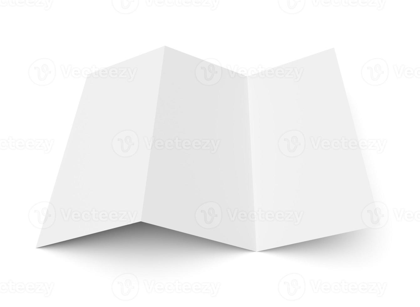 folleto en blanco plegado en z folleto de papel blanco foto