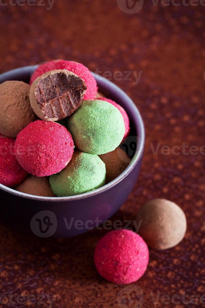 Assorted chocolate truffles photo