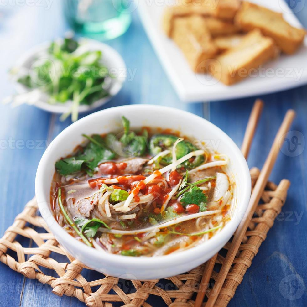 tazón de sopa vietnamita de carne pho tai foto