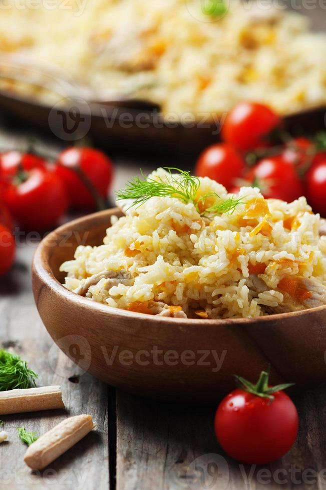 Traditional uzbek pliaw with carrot and onion photo